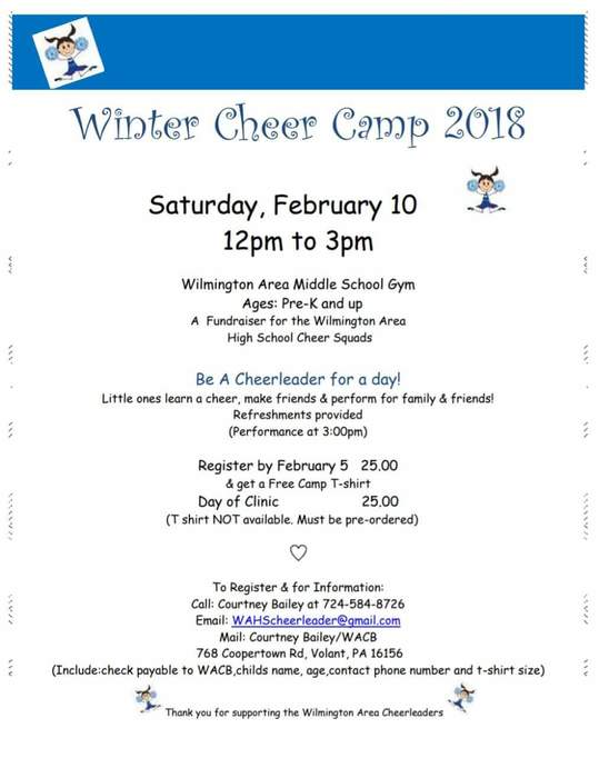 Winter cheer camp flyer